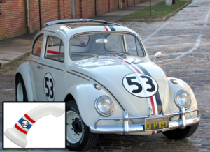 Photo of Herbie the love bug with an image of a screenshopped BS dildo