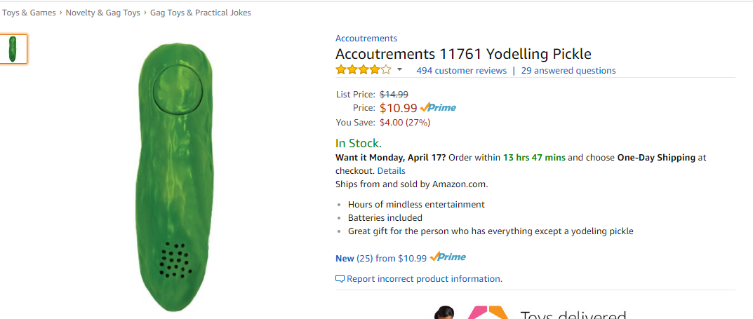 Screenshot of the Amazon listing for the Yodelling Pickle